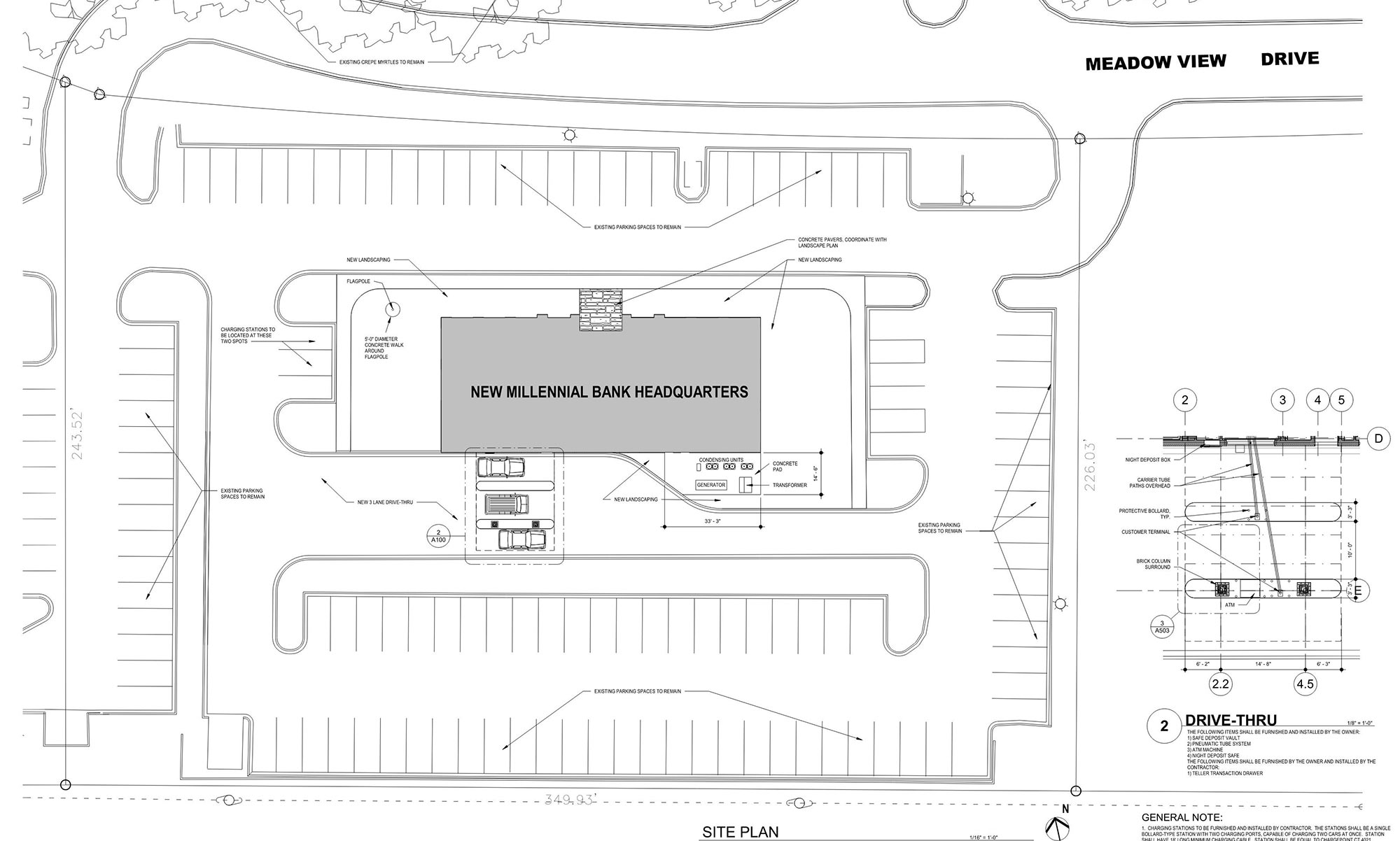 Site Plan for Millennial Bank's New Headquarters